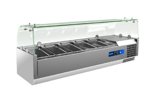 Prodis EC-T12G, 1200mm 4 x 1/3GN Topping Unit With Curved Glass Top